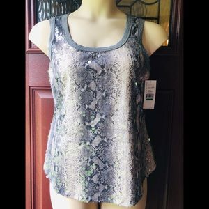 New Sequin Silver Gray Tank Top Sleeveless Shirt L